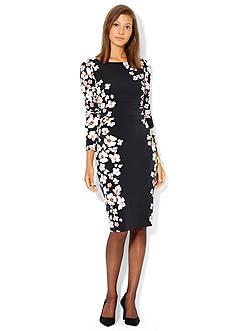 Floral-Lace V-Neckline Dress