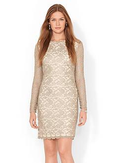 Lauren Ralph Lauren Metallic-Lace Scalloped Dress