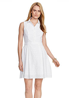 Lauren Ralph Lauren Cotton Eyelet Shirt Dress