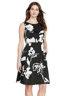Lauren Ralph Lauren Floral Faille Overlay Dress