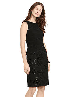 Lauren Ralph Lauren Lace-Jersey Sheath Dress