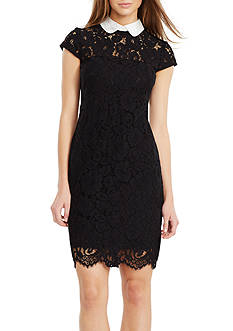 Lauren Ralph Lauren Contrast-Collar Lace Dress