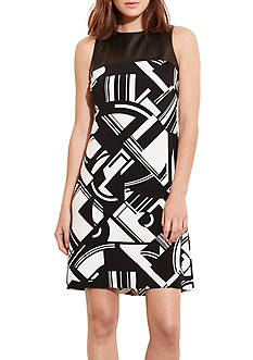 Lauren Ralph Lauren Printed A-line Dress with Faux Leather