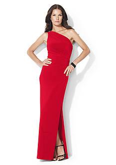 Lauren Ralph Lauren Floor-Length One-Shoulder Brooch Dress