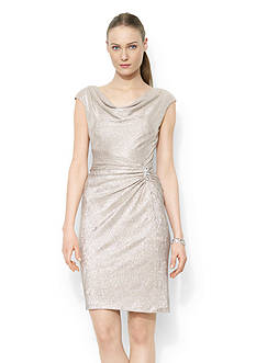 Lauren Ralph Lauren Metallic Cowlneck Dress