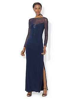 Lauren Ralph Lauren Long-Sleeve Mesh-Yoke Gown