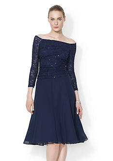 Lauren Ralph Lauren Shirred Sequined-Lace Dress