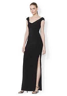 Lauren Ralph Lauren Kevina Cap Sleeve Evening Gown