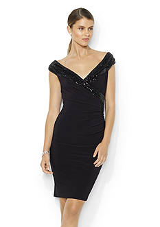 Lauren Ralph Lauren Sequined Neckline Jersey Dress