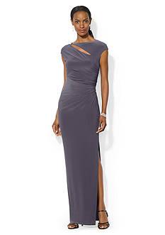 Lauren Ralph Lauren Cutout Jersey Evening Gown