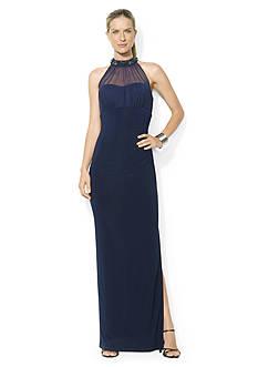 Lauren Ralph Lauren Sleeveless Beaded Matte Jersey Empire Gown