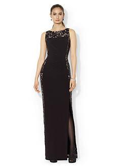Lauren Ralph Lauren Sleeveless Boat-neck Lace Panel Dress