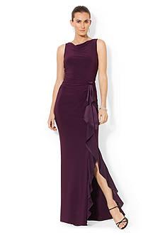 Lauren Ralph Lauren Sleeveless Ruffled Gown