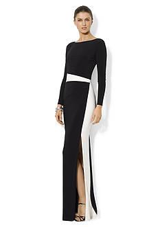Lauren Ralph Lauren Long-Sleeved Boat-neck Gown