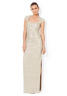 Lauren Ralph Lauren Cap-Sleeved Metallic Gown