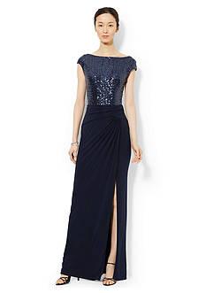 Lauren Ralph Lauren Sequined Combo Gown