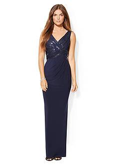 Lauren Ralph Lauren Sequined-Mesh V-Neck Gown