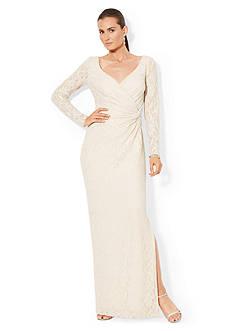 Lauren Ralph Lauren Long-Sleeved Sequined-Lace Gown