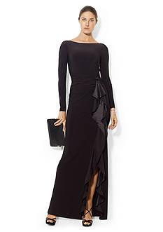Lauren Ralph Lauren Long-Sleeved Silk-Ruffle Gown
