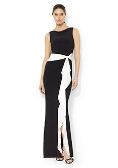 Lauren Ralph Lauren Cowl-neck Bow Gown
