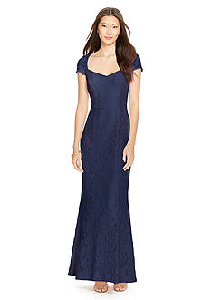 Lauren Ralph Lauren Cap-Sleeved Lace Dress