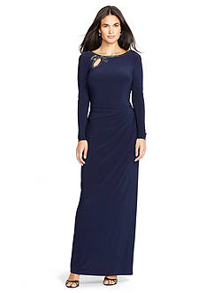Lauren Ralph Lauren Beaded Jersey Gown
