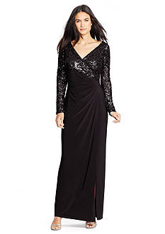 Lauren Ralph Lauren Sequined-Lace Combo Gown