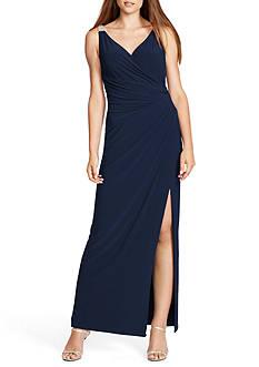 Lauren Ralph Lauren Jersey Surplice Gown