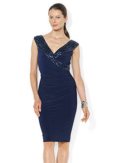 Lauren Ralph Lauren Sequined-Neckline Jersey Dress