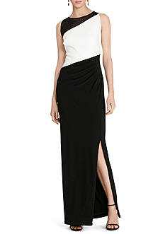 Lauren Ralph Lauren Color-Blocked Jersey Gown