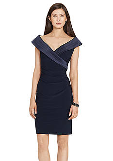 Lauren Ralph Lauren Satin-Collar Jersey Dress