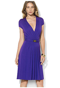 Lauren Ralph Lauren Lauren Belted V-Neck Dress