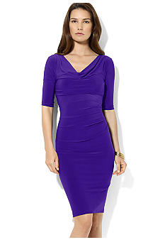 Lauren Ralph Lauren Cowl-Neck Draped Matte Jersey Dress