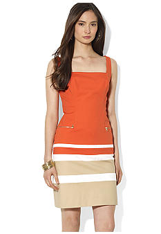 Lauren Ralph Lauren Square Neckline Color-Blocked Dress