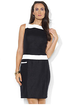 Lauren Ralph Lauren Sleeveless Linen Color Block Sheath Dress