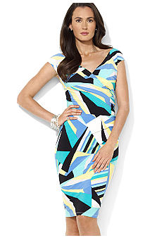 Lauren Ralph Lauren Cap-Sleeved Patterned Matte Jersey Surplice Sheath Dress