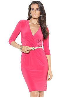 Lauren Ralph Lauren Three-Quarter Sleeved Belted V-Neck Dress