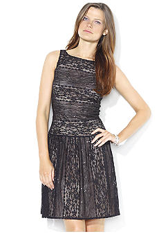 Lauren Ralph Lauren Sleeveless Sequined Lace Cocktail Dress