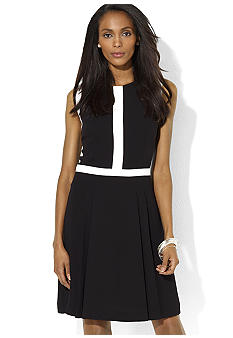 Lauren Ralph Lauren Sleeveless Two-Toned Crepe Boat-Neck Dress
