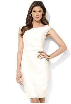 Lauren Ralph Lauren Cap Sleeve Stretch Satin Dress