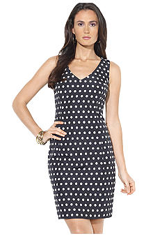 Lauren Ralph Lauren Polka-Dot V-Neck Dress