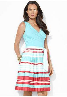 Lauren Ralph Lauren Sleeveless Striped Stretch Cotton-Blend Surplice Dress