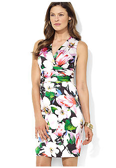 Lauren Ralph Lauren Sleeveless Empire-Waist Ruched Floral Surplice Dress