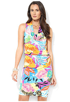 Lauren Ralph Lauren Sleeveless Patterned Matte Jersey Cowl-Neck Dress