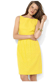 Lauren Ralph Lauren Eyelet Boat Neck Sleeveless Dress