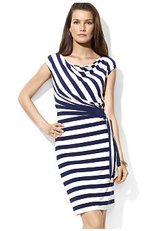 Lauren Ralph Lauren Striped Jersey Cowl Neck Dress