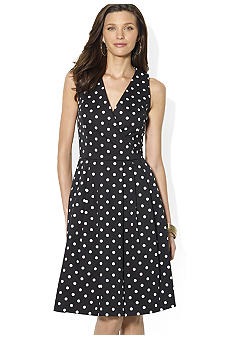 Lauren Ralph Lauren Sleeveless Belted Cotton Dress