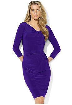 Lauren Ralph Lauren Three-Quarter-Sleeved Draped Matter Jersey Dress