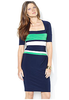 Lauren Ralph Lauren Elbow-Sleeved Matte Jersey Striped Dress
