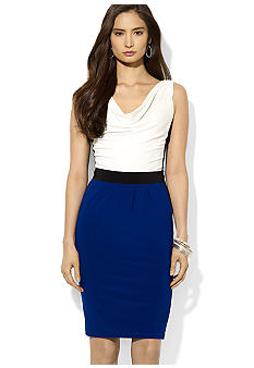 Lauren Ralph Lauren Color-Blocked Jersey Cowl Neck Dress
